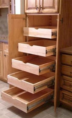 Uplifting Kitchen Remodeling Choosing Your New Kitchen Cabinets Ideas. Delightful Kitchen Remodeling Choosing Your New Kitchen Cabinets Ideas. Pantry Storage Cabinet, Diy Kitchen Storage, Kitchen Drawers, Kitchen Redo, Kitchen Organization, New Kitchen, Kitchen Ideas, Kitchen Hacks, Kitchen Makeovers
