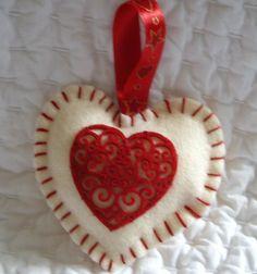 Felt Christmas Decoration - Hanging Heart. £2.50, via Etsy.