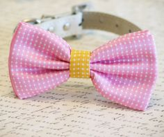 #Polka #dots #Pink #Dog #Bow Tie Pink and #Yellow bow Pet by #LADogStore