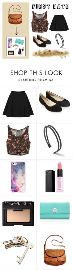 """first date"" by ariayoungg ❤ liked on Polyvore featuring Topshop, Accessorize, American Eagle Outfitters, BlissfulCASE, Victoria's Secret, NARS Cosmetics, Tiffany & Co. and CB2"