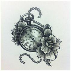Pocket Watch Drawing, Pocket Watch Tattoos, Pocket Watch Tattoo Design, Neue Tattoos, Body Art Tattoos, Tattoo Drawings, Portrait Tattoos, Tattoo Ink, Arm Tattoo