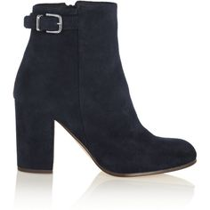 J.Crew Barrett buckled suede ankle boots (1.530 DKK) ❤ liked on Polyvore featuring shoes, boots, ankle booties, navy, navy ankle boots, short boots, suede bootie, suede ankle booties and high heel ankle boots