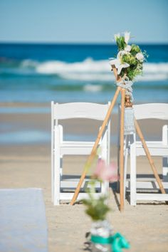 chairs and flowers on the beach, North Stradbroke Island Wedding Photographer, Straddie Photography, Straddie Wedding Photograph