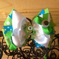 Mike Wazowski Monsters Inc Hair Bow by MegansHairCandy on Etsy, $8.00