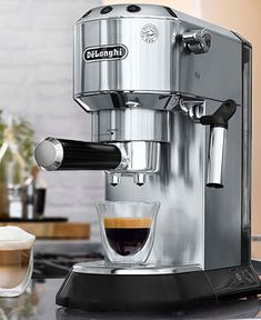 De'Longhi Dedica Stainless Steel Mini Pump Espresso/Cappuccino Maker - Stainless Steel With Black Cappuccino Maker, Cappuccino Coffee, Espresso Maker, Coffee Maker, Coffee Shop, Coffe Bar, Coffee Brewer, Iced Coffee, Miele Coffee Machine