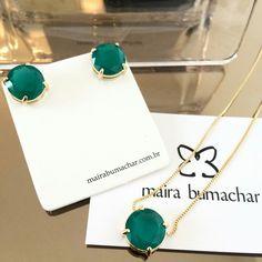 Brinco e colar cristal esmeralda! #mairabumachar www.mairabumachar.com.br #pedidosporwhatsapp (11)997440079