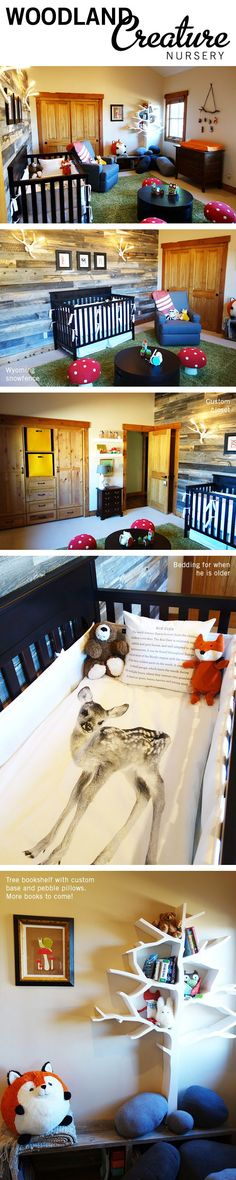 Love the 3-D tree limb book shelves in this woodland creature nursery. A rustic nursery for a baby boy featuring foxes, deer, bears, raccoons, and both new and antique furnishings along with some DIY items.