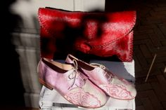 Hand stiched Red haircalf clutch. Pink embroidery Oxford shoes Morocco, Oxford Shoes, Embroidery, Red, Pink, Bags, Women, Fashion, Handbags