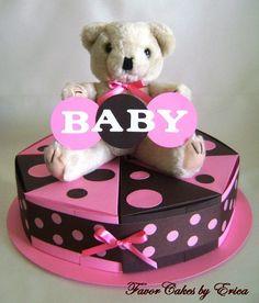 Pink or Blue Polka Dot Baby Shower Theme Favor Box Cake