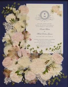 The Pressed Garden ~ This Bridal Bouquet is Pressed and Preserved Around the Wedding Invitation! www.pressedgarden.com