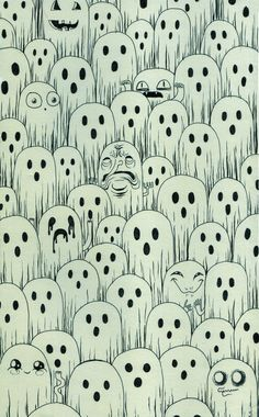 Halloween, Ghost Pattern, Ghost Expressions and Faces.