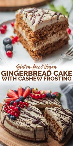 This gluten-free vegan gingerbread cake is a delicious festive dessert, perfect for Christmas and any other special occasions, as well as oil-free, dairy-free and beginner-friendly. Decorated with an easy coconut frosting made from cashew nuts. Healthy Vegan Dessert, Cake Vegan, Vegan Dessert Recipes, Köstliche Desserts, Vegan Sweets, Dairy Free Recipes, Vegan Gluten Free, Whole Food Recipes, Dairy Free Cakes