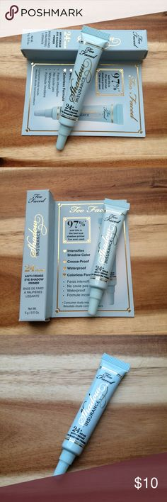 Too Faced Insurance Eyeshadow Primer (travel size) Too Faced Insurance Eye Shadow Primer (travel size) 5g Arrives today. Never opened/tested/used. Perfect for travelling. Too Faced Makeup Eye Primer