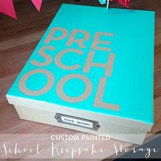 Organizing Childhood Keepsakes- Make Storage Box for each year or maybe just one for baby, preschool, middle school, high school, and college