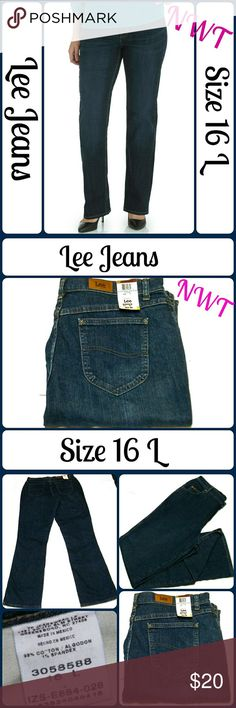 "NWT Sz 16L Lee Jeans, Stretch Bootcut Super cute and a perfect wardrobe staple! Brand new with tags. First photo to show fit.   99% Cotton, 1% Spandex ...  Waist 36"", Inseam 36"", Rise 13? ... From a smoke-free, dog friendly home, No trades!! (J40) Lee Jeans Boot Cut"