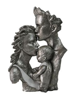 New Born With Mother Father Cold Cast Bronze Sculpture Silver White Patina Resin Sculpture, Bronze Sculpture, Lion Sculpture, Family Sculpture, Male Figure, Mother And Father, Family Portraits, It Cast, The Incredibles