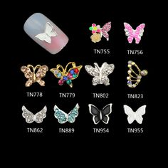 10pcs 3D Nail Art Decoration Alloy Butterfly Multi Color Rhinestones  Manicure e6d65169fe94