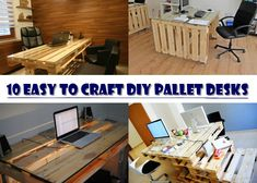 10 Easy to Craft DIY Pallet Desks For Your Home Office - http://www.diyhomestips.com/1/diy/10-easy-to-craft-diy-pallet-desks-for-your-home-office