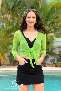 Super bright and versatile summery light-weight cardigan in a Lime Green Color. Perfect to throw over a summer dress, bikinis, jeans, shorts, and more! You can roll this up in your bag and pop on after the sun goes down. #casual #fashion #luau #cruisewear #summer #beachcoverup #bolero #cruisewear #beachcardigan #cardigan #over-swim #knit #knittedshrug #shrug #lightweight