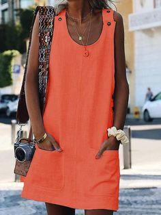 Vestido Casual de Mezcla de algodón Con Escote Redondo Liso