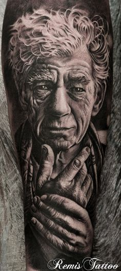 black and grey Ian McKellen portrait by Remis, remistattoo, realism, realistic tattoo, tattoo ideas, inspiration, sleeve, arm, half sleeve, full sleeve