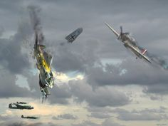 Defending England ~ 1940 A typical air battle scene during the Battle of Britain. A Hurricane flies by a destroyed He-111 to pursue another bogie.