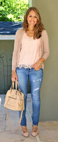 Sometimes, I like to use my clothing budget to buy things I've never tried before, while other times I like to buy things that are tried and true. I've worn a lace top + distressed jeans many times before, but I just couldn't pass up this pink lace top when I was shopping in NYC last weekend (it was my one and only purchase). I was armed with a 50% off friends and family coupon and I'm a sucker for anything baby pink. I can see wearing it lots of different ways - tucked into a skirt, ...