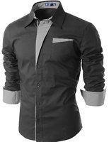 Doublju Camisa para hombre casual con contraste cuello Band en tienda de ropa amazónica Hombres: Tirantes camisas