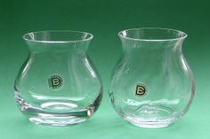 FT250 Cosa Nostra Range Mama Vases in plain & ripple clear glass - Designed by Frank Thrower for Dartington Glass 1980, and ripple from 1983