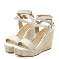 White Buckle Wedge Sandals ($31) ❤ liked on Polyvore featuring shoes, sandals, wedges, heels, white, white chunky sandals, platform heel sandals, ankle strap sandals, wedge sandals and platform sandals