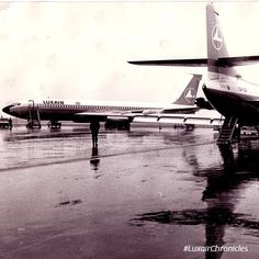 Vintage Luxair Boeing 707 and Sud Aviation (now Airbus) Caravelle