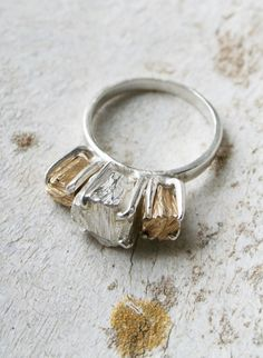 Playing on the idea of the 'diamond' is a popular trend these days and this Jagger Trilogy Ring by Macha Jewelry is another wonderful example. The rawness of the 'cut' is really what tickles my fancy. $510.00