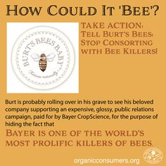 """It's a shame that Clorox now owns, and has corrupted Burt's Bees products—a fact that hasn't gone unnoticed by consumers who are asking to """"change back"""" Burt's Bees. It's an even bigger shame that Burt's Bees is now supporting Bayer, the very company that is killing off the bees. TAKE ACTION: Tell Burt's Bees: Stop Consorting with the Bee Killers, and instead, demand the EPA ban bee-killing pesticides! http://orgcns.org/1JlWi87"""
