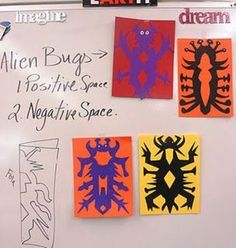 Julie Adama posted alien bugs, symmetry, positive/negative space to her -school planning- postboard via the Juxtapost bookmarklet. Classroom Art Projects, School Art Projects, Art Classroom, 3rd Grade Art Lesson, Third Grade Art, Fourth Grade, Classe D'art, Animal Art Projects, Jr Art