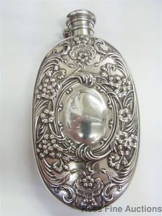 Minty Gorham 1895 Whiting 4236 Sterling Silver Antique Scroll Flask