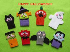8 Halloween finger puppets made with felt scary but adorable by Lilolimon