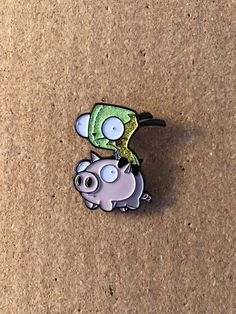 Invader Zim Gir + Pig Enamel Pin (with Glitter) Jacket Pins, Pin Pics, Invader Zim, Trash Bag, Cool Pins, Pin And Patches, Hat Pins, Pin Badges, Girl Scouts