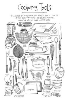 Cooking Tools - illustrated by Lucy Engelman *great handout idea for teaching kitchen tools