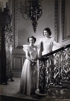 HRH Princess Elizabeth (left) and HRH Princess Margaret Rose, 1945.