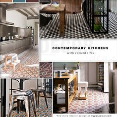 Contemporary kitchens with cement tiles| My Paradissi