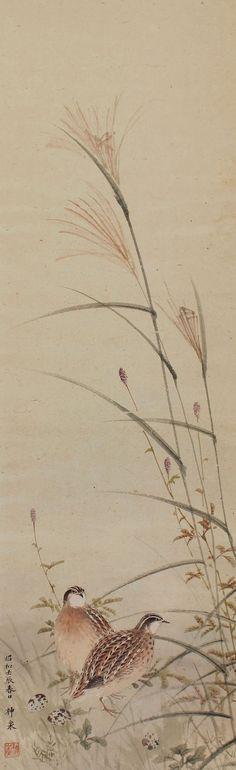 Antiguo arte japonés del colgante de pared rollo de pintura de aves y codornices de flor de la hierba de Pampas japonesa Kakejiku – 1510059