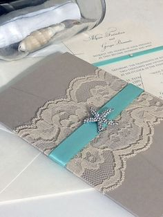 Turquoise and Gray Quinceanera or Sweet 16 Invitation Set with Crystal Starfish - All colors customizable- SAMPLE LISTING - free shipping