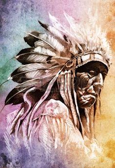 入れ墨の芸術、カラフルな背景の上のインディアン ヘッドのスケッチ