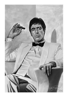 Inspiration for this piece came from a Martin Scorsese exhibition in Melbourne at ACME. Scarface is one of my favorite mobster films. How can I not paint the iconic Al Pacino playing Tony Montana in this film. I decided not to go with any of his Scarface Quotes, Scarface Poster, Scarface Movie, Al Pacino, Mike Tyson, Montana Tattoo, Don Corleone, Cholo Art, Gangster Movies