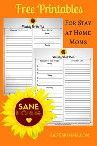 Free Printables for Stay at Home Moms - How to be an organized Stay at Home Mom