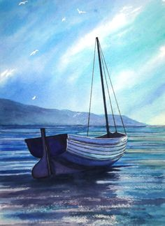 This painting by Graham Ibson is for sale on ADO http://artdiscoveredonline.co.uk/art-gallery/blue-boat-on-a-blue-day/