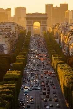 Looking west on the Champs-Elysees to the Arc de Triumph