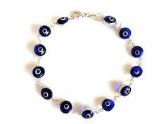 Evil eye amulet-Silver bracelet-Sterling silver-Evil eye bracelet-Glass eye…
