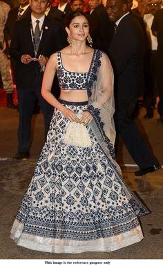 Buy Bollywood Alia Bhatt White and blue Silk lehenga at Isha Ambani weddingin UK, USA and Canada Indian Lehenga, Lehenga Choli, Alia Bhatt Lehenga, Lehenga Designs, Saree Blouse Designs, Indian Wedding Outfits, Indian Outfits, Indian Clothes, Indian Designer Outfits