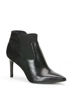 Rachel Zoe point toe bootie accented with calf hair